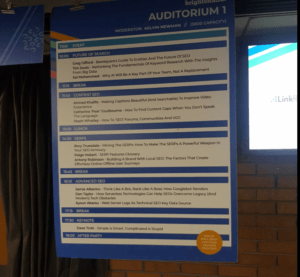Auditorium 1 Schedule Sign at BrightonSEO