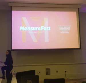 Measurefest Logo on Projector