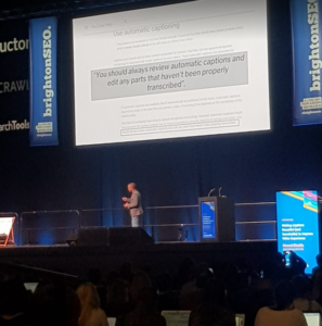 YouTube Captions Talk at BrightonSEO